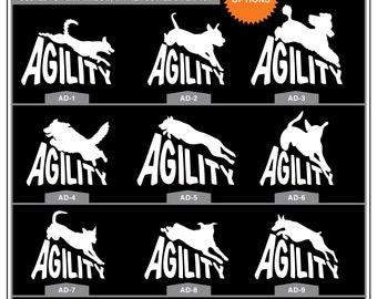 Agility Dog - 9 Breed Choices: Dog Agility, Agile Dog, Agility Dog, Dog Sports, Dog Decal, Car Window Decal, Car Window Sticker