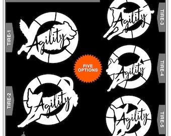 Agility Dog - Tire Jump - 5 Breed Choices: Dog Agility, Agile Dog, Agility Dog, Dog Sports, Dog Decal, Car Window Decal, Car Window Sticker