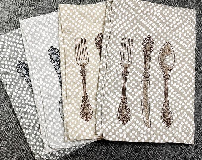 Decorative Cloth Napkin Set - set of 4, rustic napkin set, french bistro decor