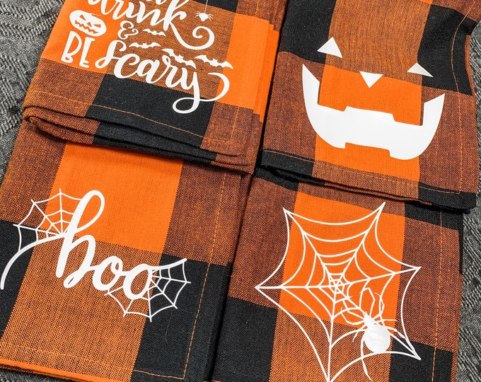 Halloween Plaid Napkin - Set of 4, Halloween Napkin set, Orange Plaid Napkin set, Orange Plaid Halloween Napkins