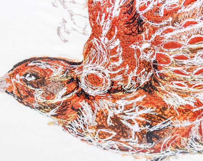 Framed Embroidery Art - Sparrow