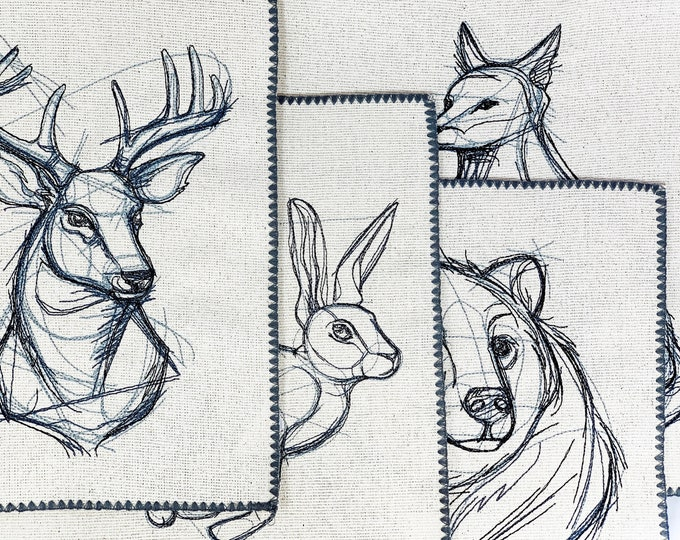 Rustic Woodland Animal Sketch Placemats - set of 4, Rustic Placemat Set, Unique Placemats, Woodland Placemats, Rustic Decor, Rustic Dining