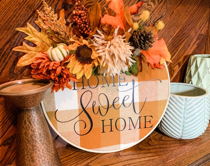 Home Sweet Home Fall Embroidery Hoop Wreath, Fall Hoop Wreath, Embroidery Hoop Wreath, Home Sweet Home Wreath, Fall Decor