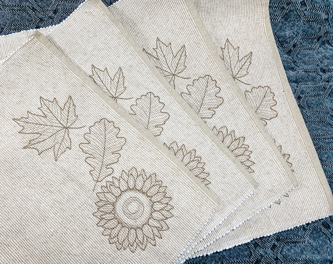 Autumn Placemats - set of 4, Falling Leaves, Fall Placemats, Rustic Dining Placemats, Autumn Placemats