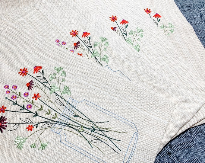 Blossoms in a Jar Machine Embroidered Placemats - set of 4, Autumn Placemats, Fall Placemats, Floral Placemats