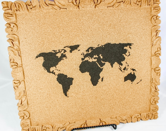 World Map Corkboard, Home Office Corkboard, Dorm Corkboard, Home Organization Corkboard