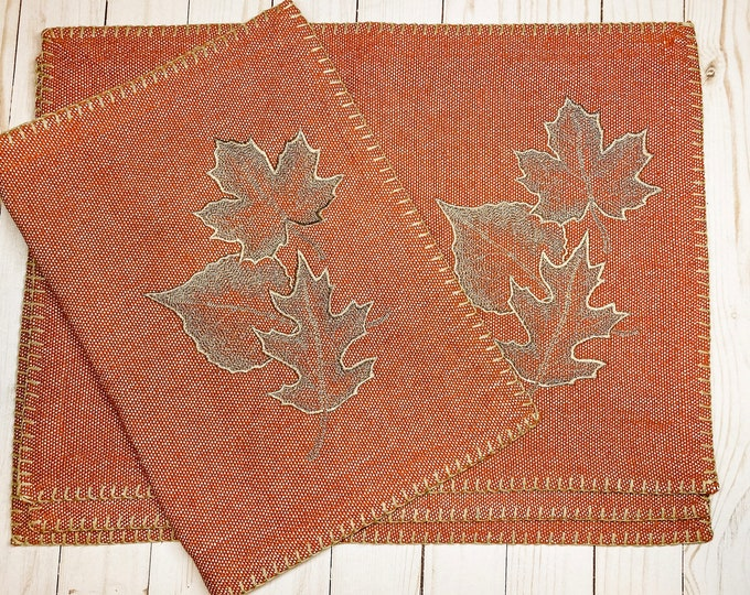 Autumn Placemats - set of 4, Falling Leaves, Fall Placemats, Rustic Dining Placemats, Autumn Placemats, Fall Decor