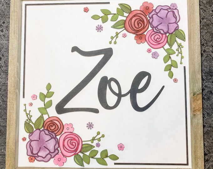 Personalized Nursery Sign, Nursery Name Sign, Baby Name Sign, Floral Nursery Decor, Name Sign for Nursery, Baby Shower Gift