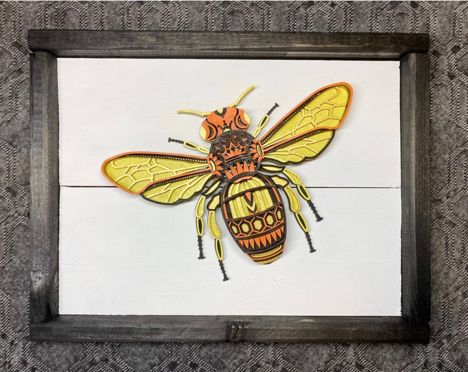 Unique Home Decor, Bee Home Decor, 3D Home Decor, Unique Wall Art, Unique Bee Art, Rustic Home Decor