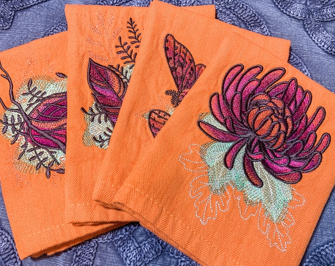 Autumn Equinox Napkin Set - set of 4 - Nest, Feathers, Moths & Flower - fall napkin set, colorful and unique napkin set