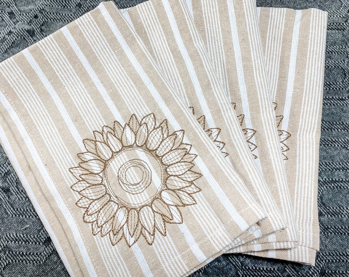 Autumn Napkin set of 4 - Sunflowers on Neutral Stripes, Fall Napkins, fall napkin set, autumn napkin set