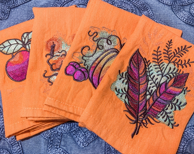 Autumn Equinox Napkin Set - set of 4 - Apples, Spooky Tree, Pumpkin, Feathers - fall napkin set, colorful and unique napkin set