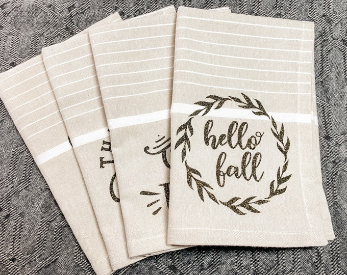 Autumn - Fall Cloth Napkin set of 4 - hello fall, give thanks, grateful & blessed, nuts about fall