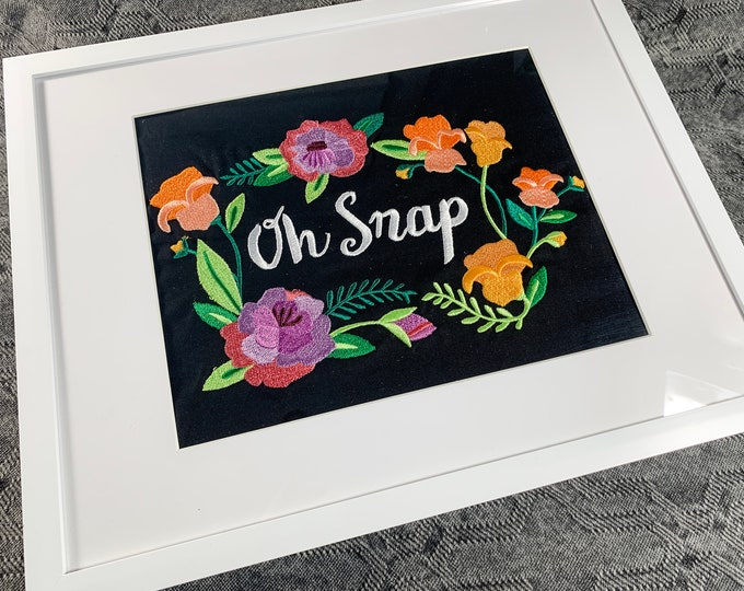 Framed Embroidery Art 'Oh Snap' - Funny & Sarcastic art home and dorm decor, Nostalgic home decor, Unique Home Decor, Embroidery Art
