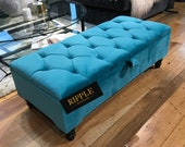 Storage ottoman footstool upholstered in natural TEAL velvet fabric, various colours available, 100 HANDMADE with BUTTONS legs included