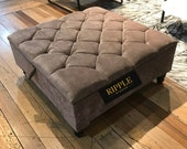 Storage coffee table upholstered in a beautiful BROWN fabric, 100 HANDMADE footstool and various COLOURS available matching buttons legs