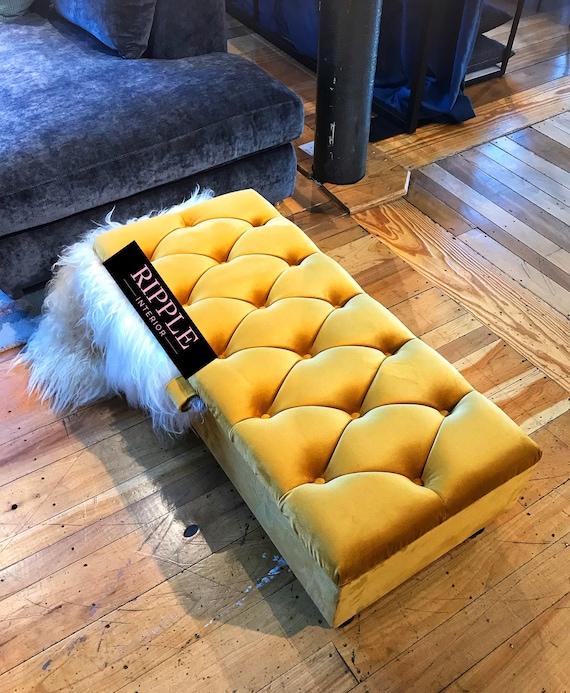 Living Room Footstool Ottoman Storage Upholstered In Velvet Etsy
