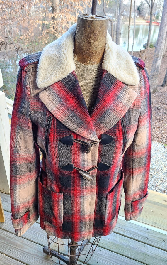 Vintage Style Wool Blanket Coat with Faux Shearlin