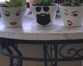 Indoor Outdoor use plant pot with face on it Custom Original Ceramic Succulent Planter Cute Decor Plant Accessories