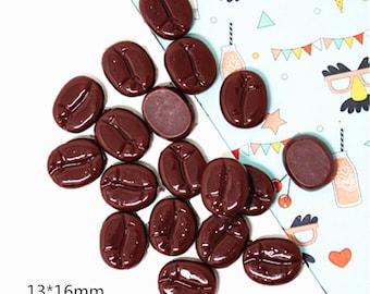 17mm 12pc Fake Dark Coffee Bean Beans FLAT BACK RESINS Cabochons G07