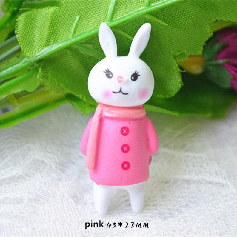 5102050PCS  resin cartoon rabbit Kawaii  miniature cabochon  flat back  Decoden  DIY 45x23mm