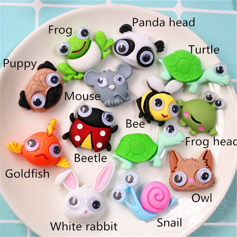 5102050pcs resin panda frog ladybug bee fish snail puppy mouse flat back cabochon Decoden    25mm