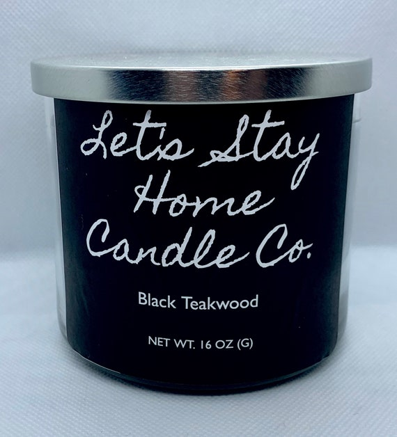 Black Teakwood Soy Candle // Large Candle // Handcrafted Candle