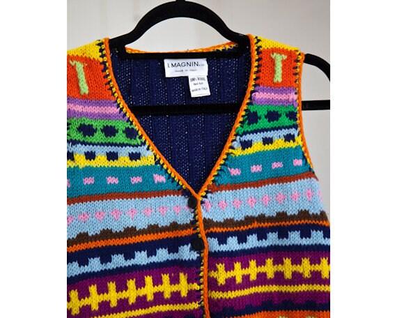 I. Magnin Rainbow Crochet Vest - image 1
