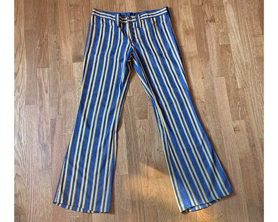 Vintage 70s Yellow Striped Bellbottom Jeans