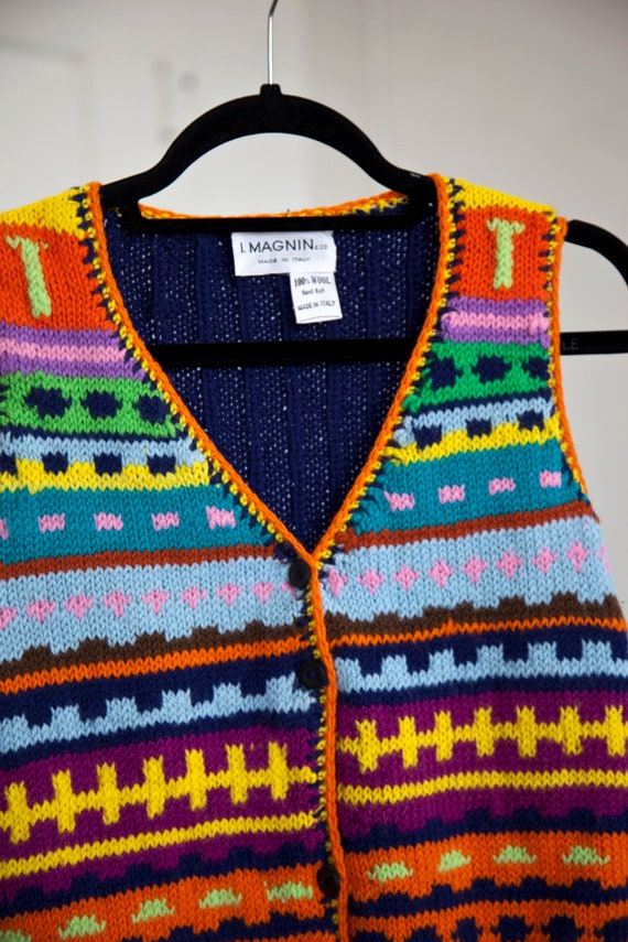 I. Magnin Rainbow Crochet Vest - image 3