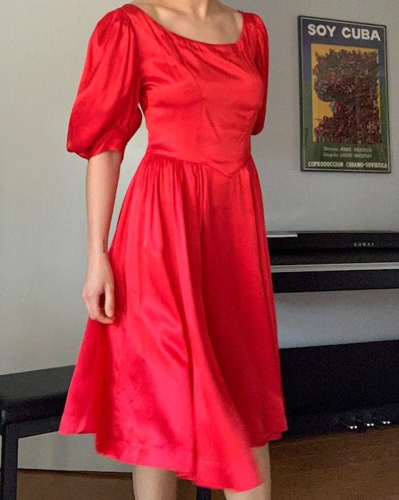Crimson Red Satin Puff Sleeve Dress