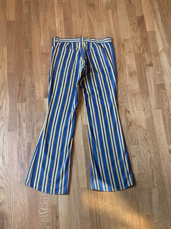 Vintage 70s Yellow Striped Bellbottom Jeans - image 4