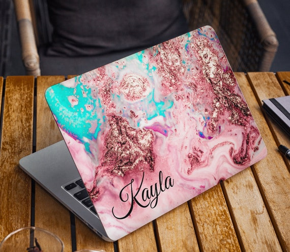 Colorful Marble Laptop Skin Custom Name Initials Vinyl Decal Dell Hp Lenovo Asus Chromebook Acer Laptop Cover Blue Gold Pink Laptop Sticker