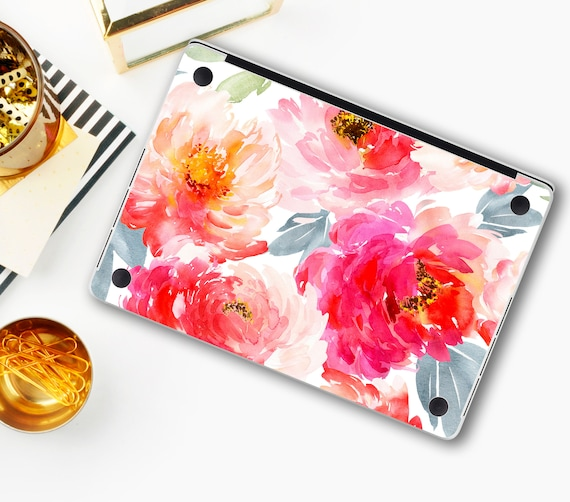Peonies MacBook Skins 12 Air 13 Pro 15 inch Retina Colored Flowers Decal MacBook Decal Pro 13 Touch Bar 2018 Air 11 Floral Design Stickers