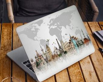 World Map Laptop Skin Sticker Top MacBook Pro 13 Skin Bottom Laptop Skin MacBook Air 13 Decal Cover Travel MacBook Pro 15 Macbook Pro 16