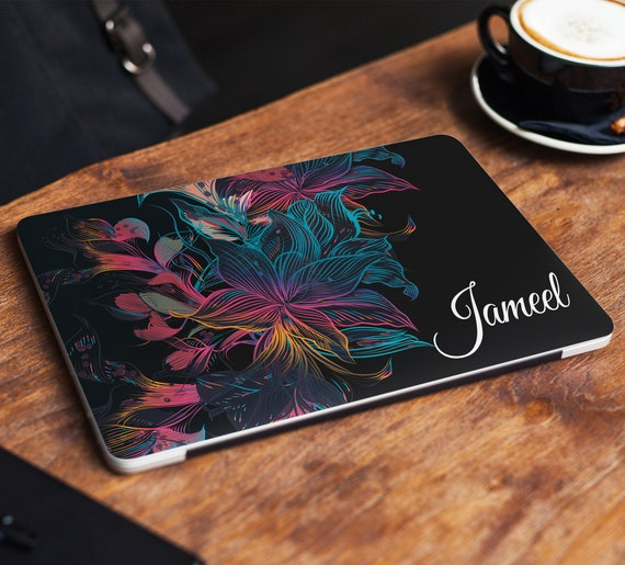 Name Marble Laptop Sticker Floral Notebook Vinyl Decal Dell Hp Lenovo Asus Chromebook Acer Laptop Decal Cover Skin For Any Laptop Sticker