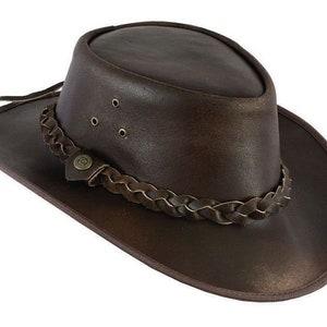 UNICORN Real Leather Australian Aussie Bush Cowboy Sun Hat Brown #8H S to XXL
