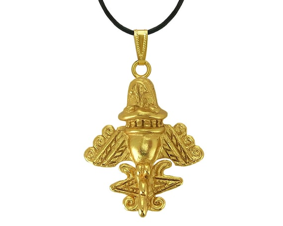 Quimbaya Flyer Ancient Aircraft Pendant 24k Gold Plated Golden Jet-7 Ancient Astronaut Theorists Gift for Aliens Outer Space UFO Lovers