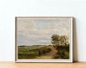 Landscape Art Print, Scenic landscape painting, Vintage art print, Printable wall art, Meadow painting, Hillside landscape, Oil painting