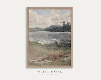 Watercolor Landscape Print / Vintage Coastal Decor Painting / Digital PRINTABLE / #177