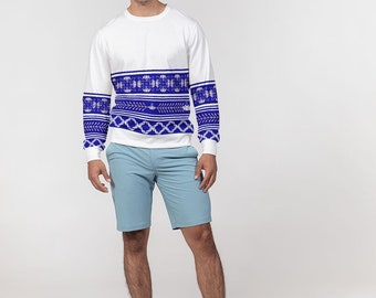 Men's Classic French Terry Crewneck Pullover Porcelain