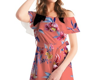 Women's Off-Shoulder Dress Rose Pattern