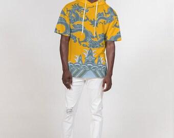 Men's Premium Heavyweight Short Sleeve Hoodie Ocean Waves