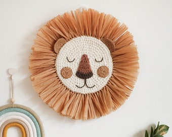 Lion Face Raffia Wall Hanging, Safari Jungle Theme Nursery, Crochet Lion Head Boho Nursery Decor