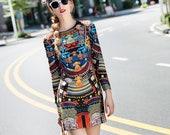 Women 39 s Elegant Design Colorful Vintage Pattern Printed Slim Retro Straight Dress Long Sleeve Mini Dress LFC21