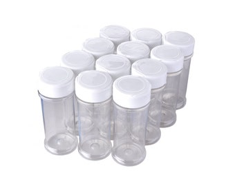 12 Pack of 6 Oz. Empty Clear Plastic Spice Bottles w/ Sprinkle Top Lids - Food-Grade Spice Jars for Kitchen and Home Spice Organization