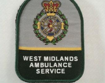 UK Ambulance Service EAST MIDLANDS NHS 3 Inch Woven Vel Hook Patch Badge