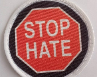 """Pinback Button Badge 1.5/"""" Peace STOP THE HATE"""