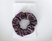 Black floral scrunchie - LOUISE