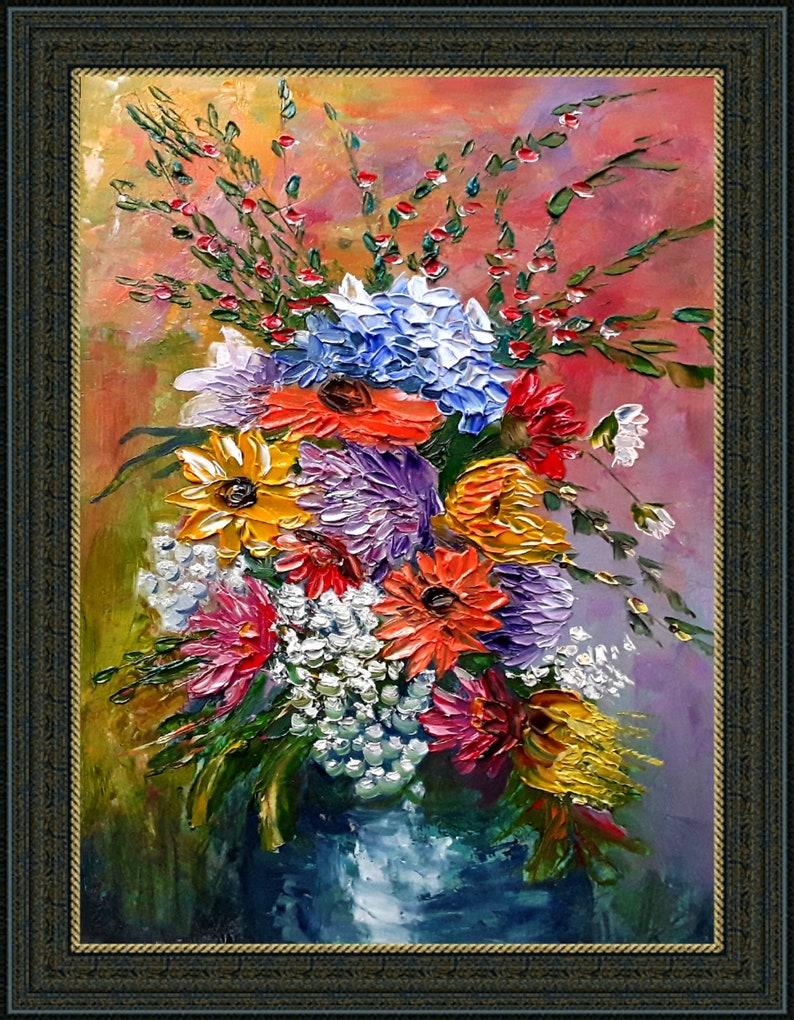 Flowers Painting Fantasy Flowers Art Original Art Impasto Painting Small Artwork 7 by 9.5 by annimonartstudio